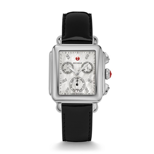 Michele Deco Diamond Dial Black Patent Leather Watch Mww06p000022 Mother-Of-Pearl