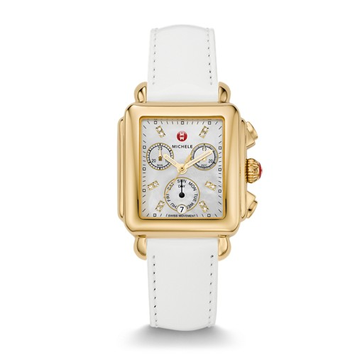 Michele Deco Gold Diamond Dial White Patent Leather Watch Mww06p000032 Mother-Of-Pearl