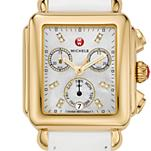 Signature Deco Gold Diamond Dial White Patent Leather