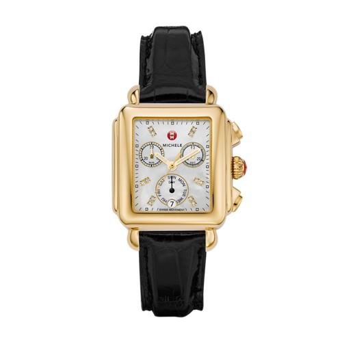 Michele Deco Non-Diamond Gold, Diamond Dial Black Alligator Watch Mww06p000038 Mother-Of-Pearl