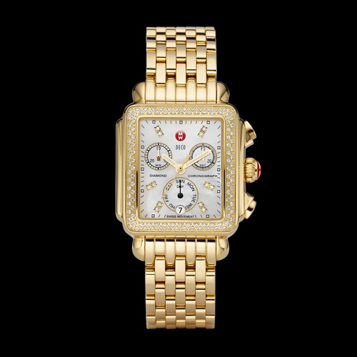 Michele Deco Gold Diamond, Diamond Dial Watch Mww06p000100 Mother-Of-Pearl