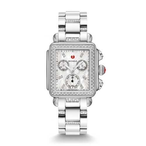 Michele Deco Diamond, Diamond Dial 3-Link Diamond Bracelet Watch Mww06p000103 Mother-Of-Pearl