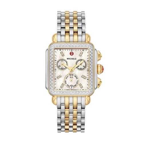 Michele Deco Two-Tone Diamond, Diamond Dial Watch Mww06p000108 Mother-Of-Pearl