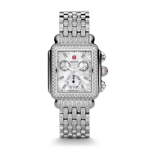 Michele Deco Diamond, Diamond Dial On Diamond Bracelet Watch Mww06p000116 White