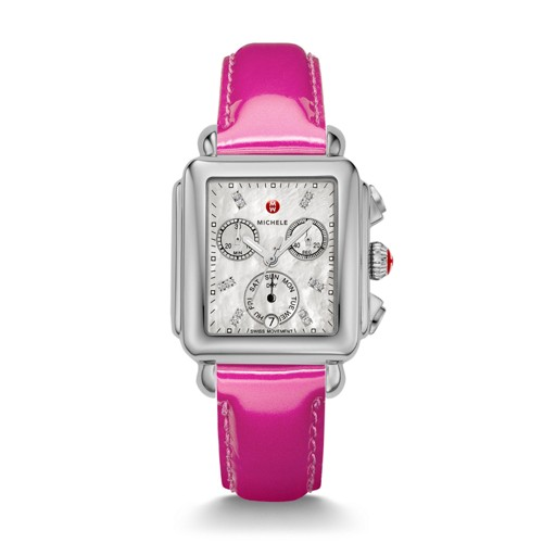 Michele Deco, Diamond Dial Pink Patent Watch Mww06p000152 Mother-Of-Pearl