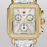 Signature Deco Diamond Gold, Diamond Dial Platinum Leather