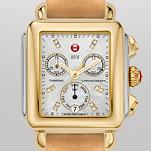 Signature Deco Two-Tone, Diamond Dial Tan Fashion Leather