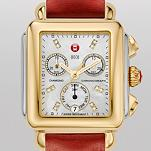 Signature Deco Two-Tone, Diamond Dial Red Fashion Leather