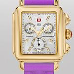 Signature Deco Gold, Diamond Dial Purple Quilted Silicone