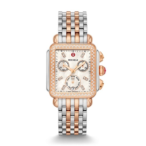 Michele Deco Diamond Two-Tone Rose Gold, Diamond Dial Watch Mww06p000232 Mother-Of-Pearl