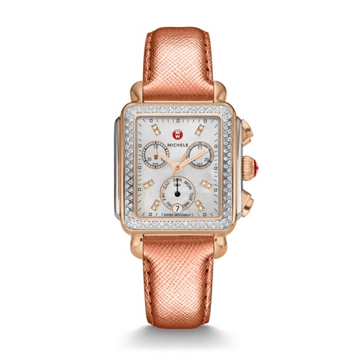 Michele Deco Diamond Two-Tone Rose Gold, Diamond Dial Rose Gold Saffiano Watch Mww06p000233 Mother-Of-Pearl