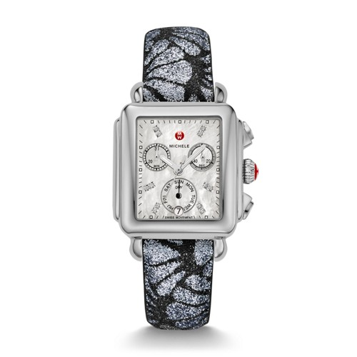 Michele Signature Deco Diamond Dial Grey-Black Glitter Watch Mww06p000257 White