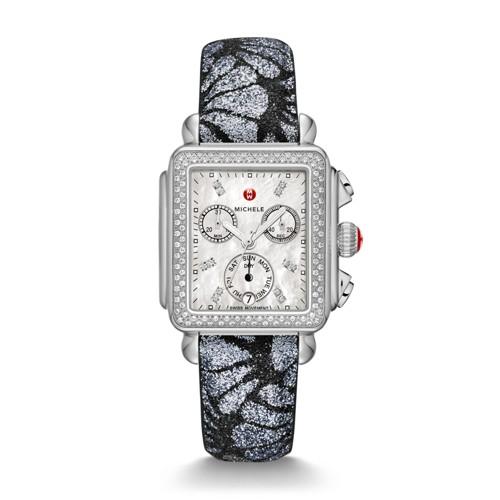 Michele Deco Diamond, Diamond Dial Grey-Black Glitter Watch Mww06p000259 Mother-Of-Pearl