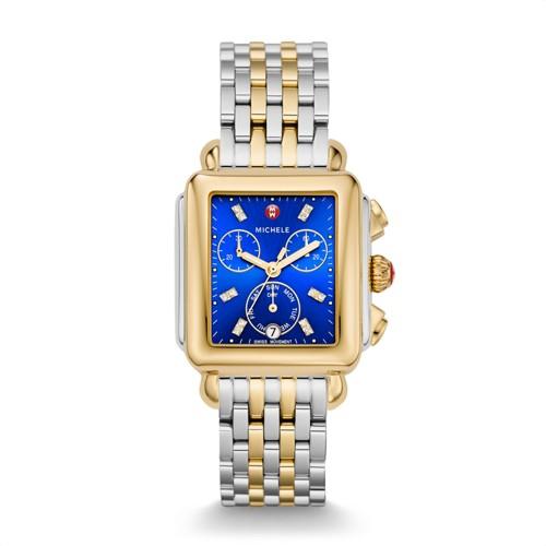 Michele Deco Two-Tone, Non-Diamond, Cobalt Diamond Dial Watch Mww06p000272 Blue