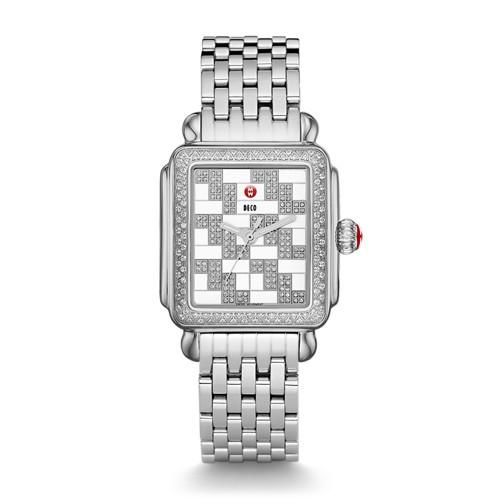 Michele Deco Diamond, Square Pattern Diamond Dial Watch Mww06t000130 Silver