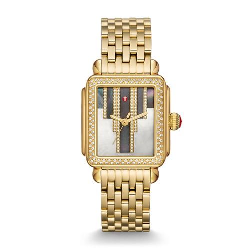 Michele Deco Skyline Diamond Gold, Cocoa Diamond Dial Watch Mww06t000136 Brown