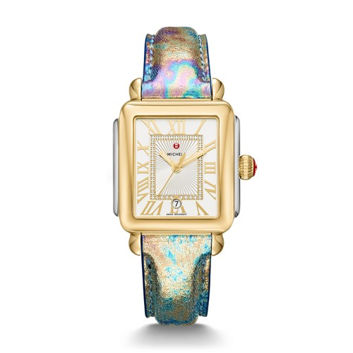 Michele Deco Madison Two-Tone, Diamond Dial Multi Leather Watch Mww06t000146 Silver