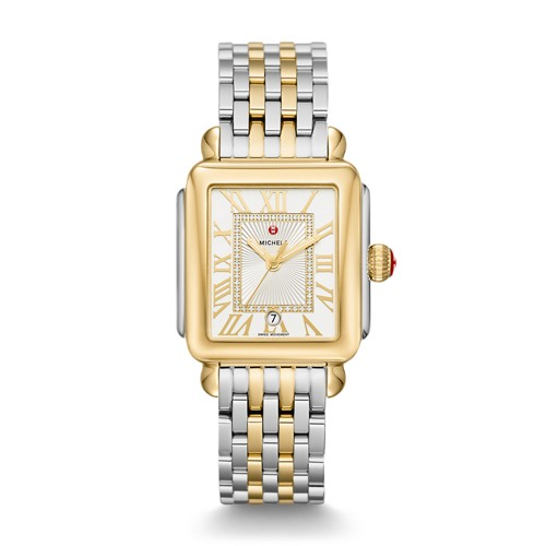 Michele Deco Madison Two-Tone, Diamond Dial Watch Mww06t000147 Silver
