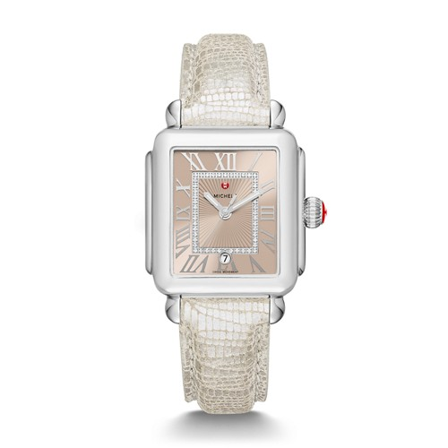Michele Deco Madison, Beige Diamond Dial Metallic Pearl Textured Leather Watch Mww06t000150 Beige