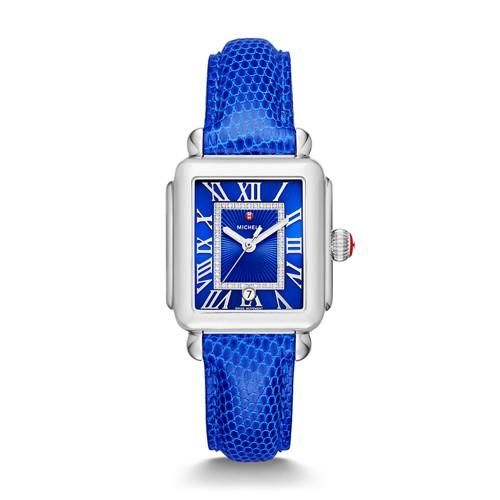 Michele Deco Madison, Cobalt Diamond Dial Blue Lizard Watch Mww06t000155 Blue