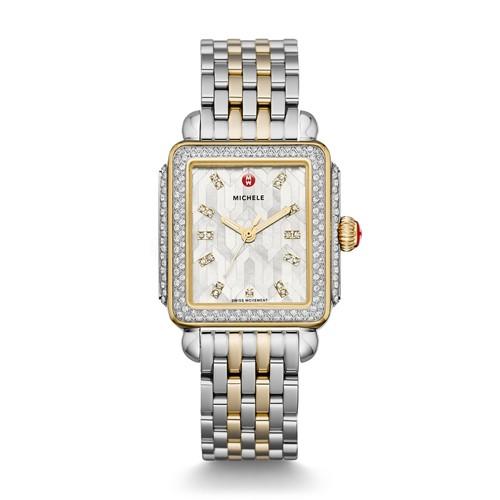 Michele Deco Glamour, Two Tone, Diamond, Winter White Diamond Dial Watch Mww..