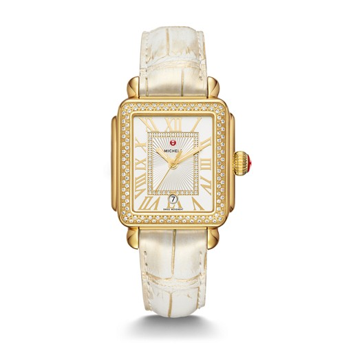 Michele Deco Madison Gold And Gold Wash Alligator Diamond Watch Mww06t000179..
