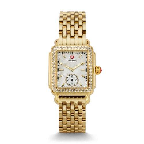 Michele Deco Mid Diamond Gold Watch Mww06v000003 Mother-Of-Pearl