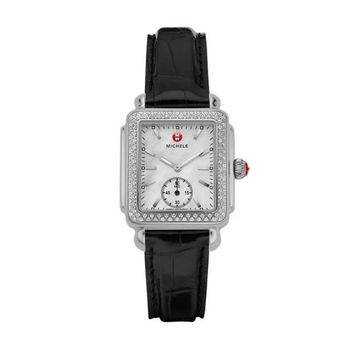 Michele Deco Mid Diamond Black Alligator Watch Mww06v000005 Mother-Of-Pearl