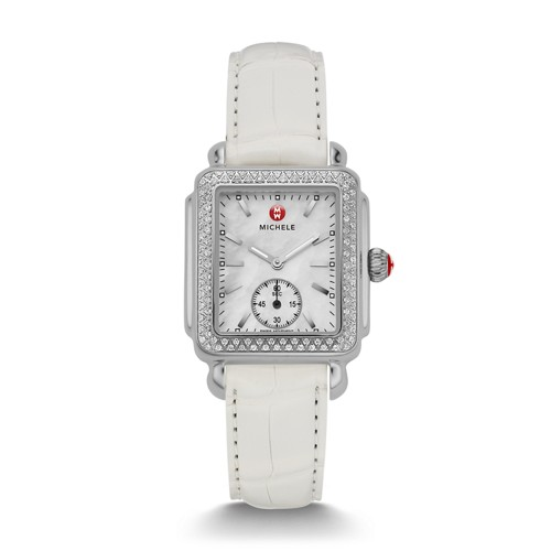 Michele Deco Mid Diamond White Alligator Watch Mww06v000006 Mother-Of-Pearl