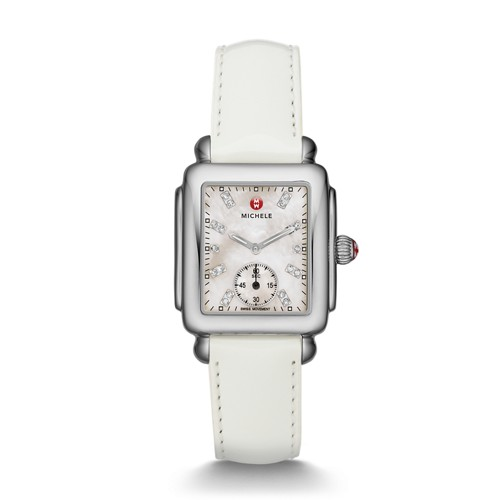 Michele Deco Mid, Diamond Dial White Patent Watch Mww06v000012 Mother-Of-Pearl