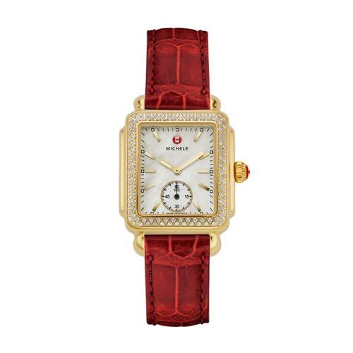 Michele Deco Mid Diamond Gold Garnet Alligator Watch Mww06v000017 Mother-Of-Pearl