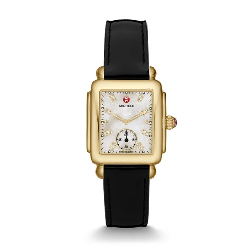 Michele Deco Mid Gold, Diamond Dial Black Patent Watch Mww06v000019 Mother-Of-Pearl