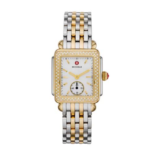 Michele Deco Mid Two Tone Diamond, Two Tone Bracelet Watch Mww06v000023 White