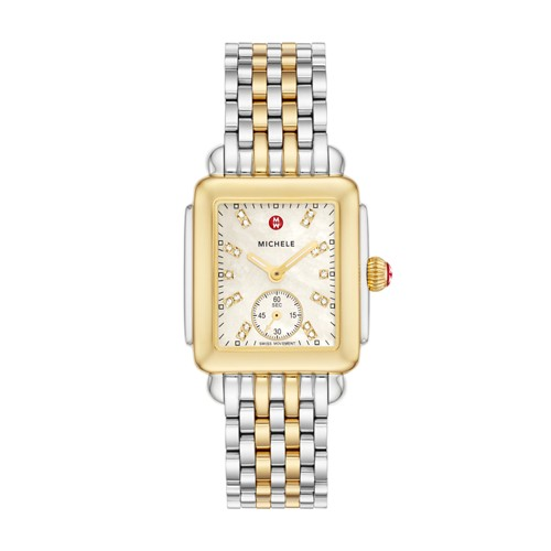 Michele Deco Mid Two-Tone, Diamond Dial On Two-Tone Bracelet Watch Mww06v000042 Mother-Of-Pearl