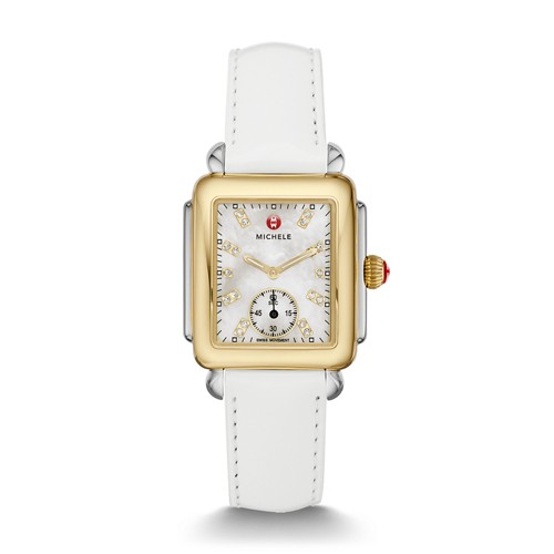 Michele Deco Mid Two-Tone, Diamond Dial On White Patent Watch Mww06v000043 Mother-Of-Pearl