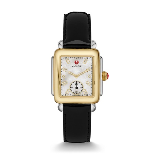 Michele Deco Mid Two-Tone, Diamond Dial On Black Patent Watch Mww06v000047 Mother-Of-Pearl