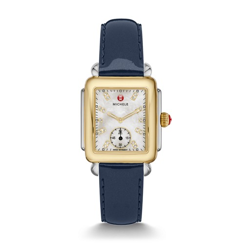 Michele Deco Mid Two-Tone, Diamond Dial On Navy Patent Watch Mww06v000048 Mother-Of-Pearl
