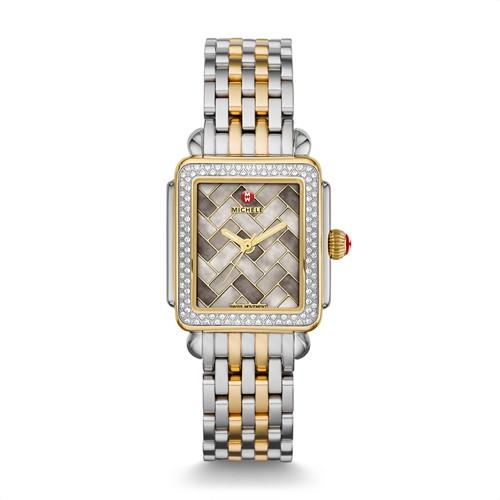 Michele Deco Mid Diamond Two Tone, Cocoa Mosaic Diamond Dial Watch Mww06v000083 Brown