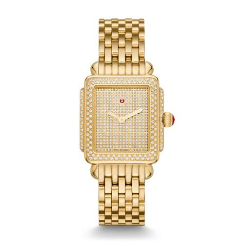 Michele Deco 16 Diamond Gold, Pav Diamond Dial Watch Mww06v000105 Gold