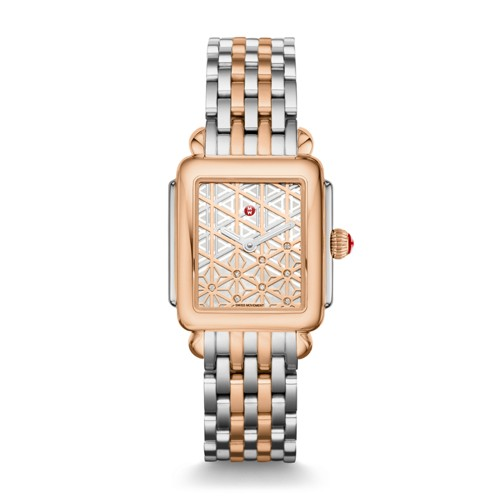 Michele Deco Mid Two-Tone Rose Gold, Layered Diamond Dial Watch Mww06v000106 Mother-Of-Pearl