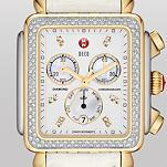 Deco XL Day Diamond Two-Tone, Diamond Dial White Alligator