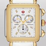 Deco XL Day Non-Diamond Two-Tone, Diamond Dial White Patent