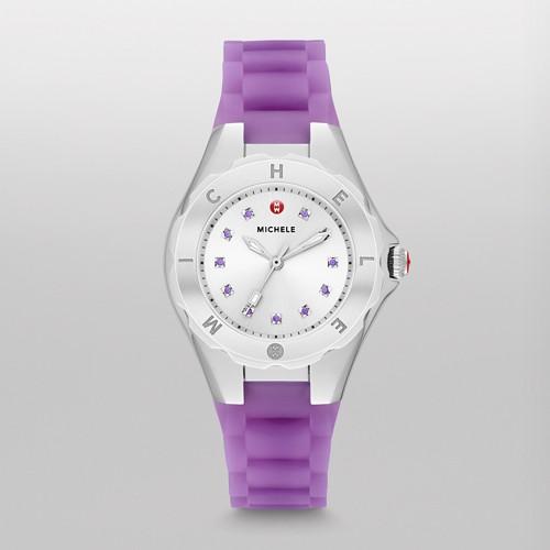 Michele Tahitian Jelly Bean Petite Topaz, Purple Translucent Watch Mww12p000009 Silver