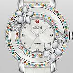 Cloette Fleur Diamond, Colored Stones White Alligator