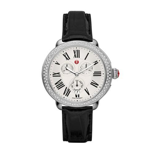 Michele Serein Diamond, Black Alligator Watch Mww21a000002 Silver