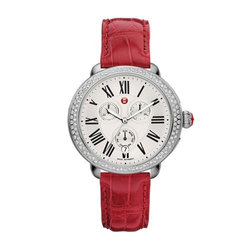 Michele Serein Diamond, Garnet Alligator Watch Mww21a000004 Silver