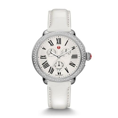 Michele Serein Diamond, White Alligator Watch Mww21a000006 Silver