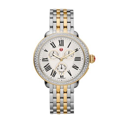 Michele Serein Diamond Two Tone Gold, Two Tone Bracelet Watch Mww21a000008 White
