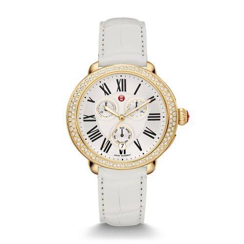 Michele Serein Diamond Gold, White Alligator Watch Mww21a000013 White