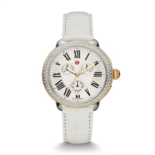 Michele Serein Diamond Two Tone Gold, White Alligator Watch Mww21a000015 White